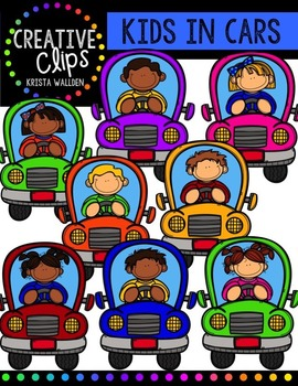 Kids in Cars {Creative Clips Digital Clipart}