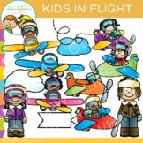 Kids in Flight Airplane Clip Art