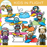 Kids in Flight Airplane Clip Art