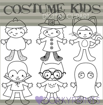 Kids in Halloween Costumes Blackline Clip Art