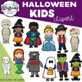 Kids in Halloween Costumes Clipart