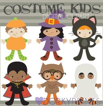 Kids in Halloween Costumes Digital Clip Art