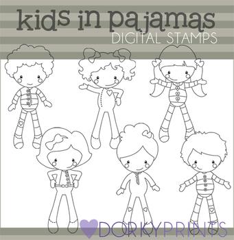 Kids in Pajamas Black Line Clip Art