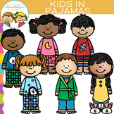 Kids in Pajamas Clip Art
