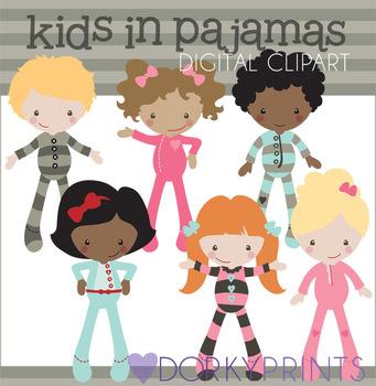 Kids in Pajamas Digital Clip Art