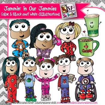 Kids in Pajamas with Cocoa Clip Art
