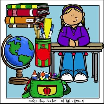 Kids in School Clip Art Set - Chirp Graphics