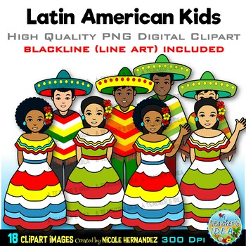 Kids in Latin American Wear Clip Art for Personal and Commercial Use