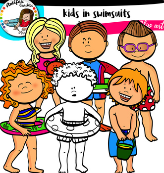 Kids in swimsuits