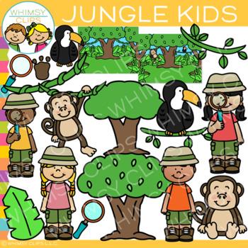 Kids in the Jungle Clip Art