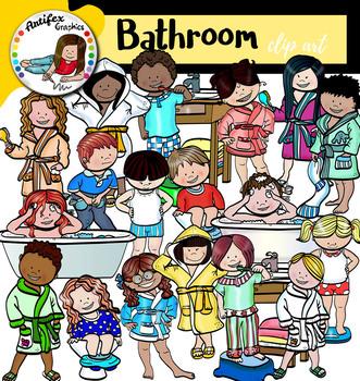 Kids in the bathroom Clip Art Mega Bundle- 92 images!
