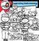 Kids learning Astronomy clip art  - Color and B&W-