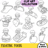 Kids on Floating Foods Clip Art (BLACK AND WHITE ONLY)