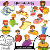 Kids on Floating Foods Clip Art Collection