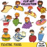 Kids on Floating Foods Clip Art (FLAT COLOR ONLY)