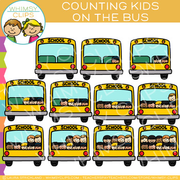 Kids on School Bus Counting Clip Art
