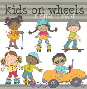 Kids on Wheels Digital Clip Art