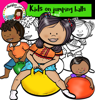 Kids on jumping balls