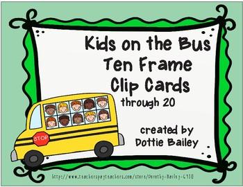 Kids on the Bus Ten Frame Clip Cards through 20