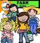 Kids on the Farm clip art