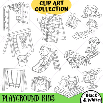 Kids on the Playground Clip Art (BLACK AND WHITE ONLY)