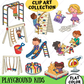 Kids on the Playground Clip Art (FLAT COLOR ONLY)