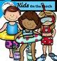 Kids on the beach clip art