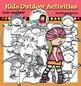 Kids outdoor activities clip art-Color and B&W-
