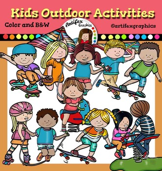 Kids Outdoor Activities Clip Art Color And B W By Artifex Tpt