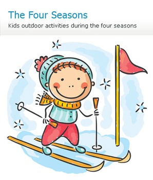 Kids outdoor activities during the four seasons