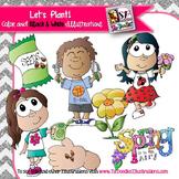 Kids planting clip art