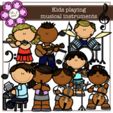 Kids playing musical instruments digital Clipart (color and black&white)