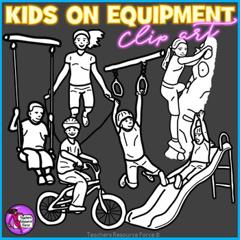 Children playing on equipment clip art