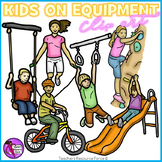 Children playing on equipment clip art