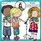 Kids playing recorders -clip art- Color and B&W