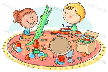 Kids playing with toys on the carpet