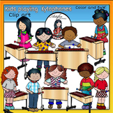 Kids playing  xylophones clip art -Color and B&W-