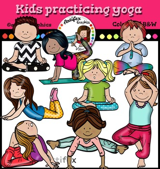 Kids practicing yoga clip art. Color and B&W