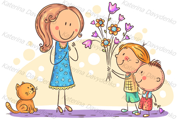 Kids presenting flowers to their mother or teacher