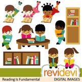 Kids reading books clip art (sitting, boys, girls, book shelves, library)