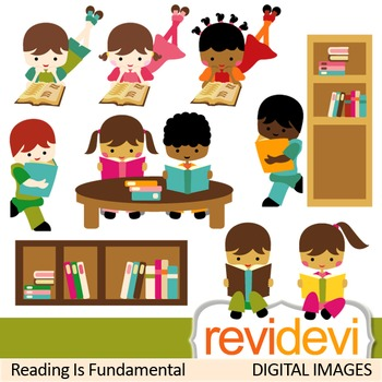 Kids reading books clip art (sitting, boys, girls, book shelves, library)
