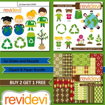 Kids recycle, go green, earth day / Clip art and digital paper bundle (3 packs)