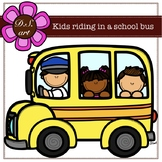 Kids riding in a School Bus Digital Clipart (color and bla