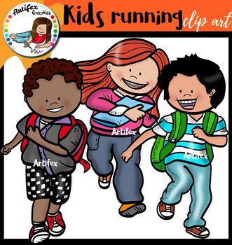 Kids running Clip Art