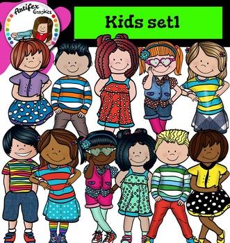 Kids set1 clip art- Color and B&W