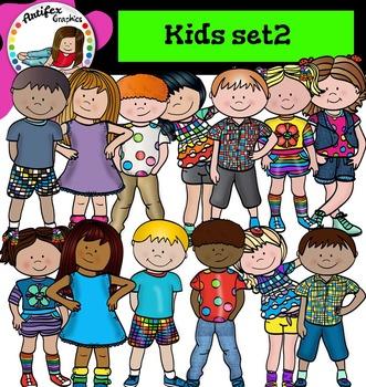 Kids set2 clip art- Color and B&W