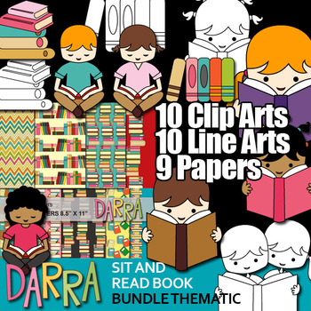 Kids Sit And Read Book Clip Art Books Library Literacy Clipart