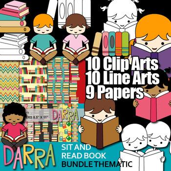 Kids sit and read book Bundle Clip art (books, library, li