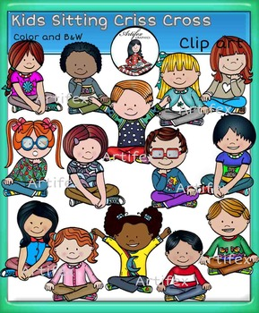 Kids sitting criss cross clip art- color and B&W