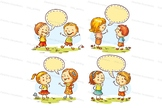 Kids talking and showing different emotions